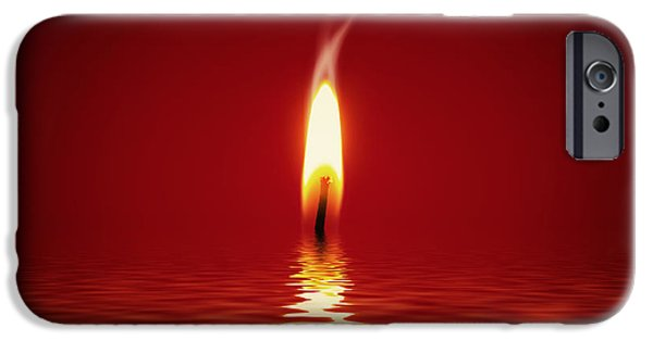 Warm Digital Art iPhone Cases - Floating Candlelight iPhone Case by Wim Lanclus