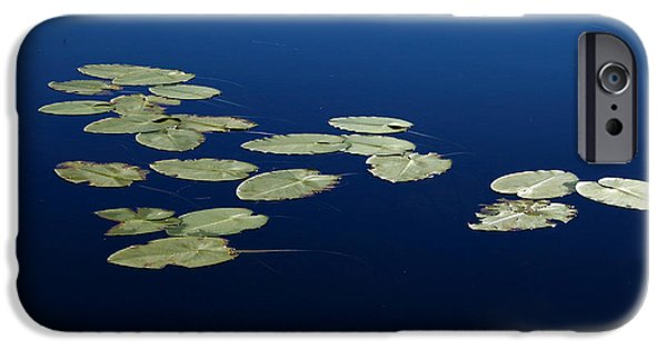 Nature Abstract iPhone Cases - Lily Pads Floating On River iPhone Case by Debbie Oppermann
