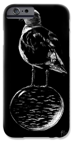 Seagull Drawings iPhone Cases - FLOATING GULL by Karen Peterson iPhone Case by Karen  Peterson
