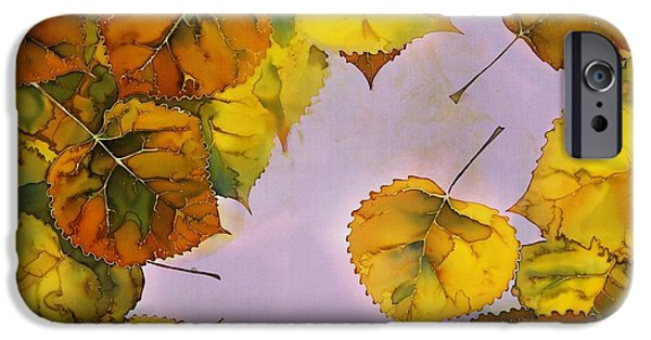 River Tapestries - Textiles iPhone Cases - Floating Leaves iPhone Case by Carolyn Doe