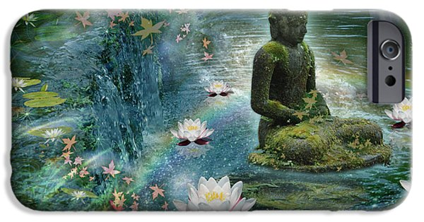 Buddhism iPhone Cases - Floating Lotus Buddha iPhone Case by Alixandra Mullins