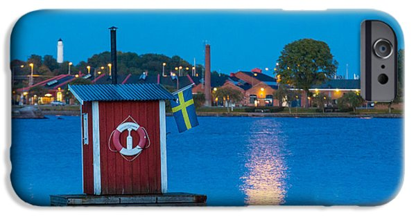 Scandinavia iPhone Cases - Floating Sauna iPhone Case by Inge Johnsson