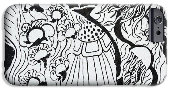 Plum Drawings iPhone Cases - Floating Zen iPhone Case by Beverley Harper Tinsley