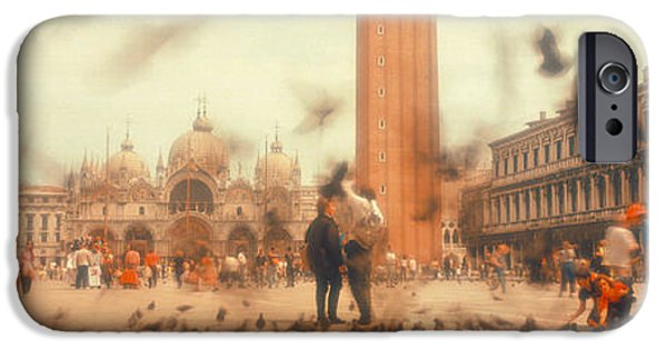 Flocks Of Birds iPhone Cases - Flock Of Pigeons Flying, St. Marks iPhone Case by Panoramic Images
