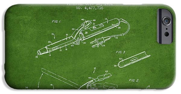Technical iPhone Cases - Flocked Curling Iron patent from 1984 - Green iPhone Case by Aged Pixel