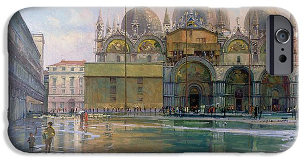 Flooding iPhone Cases - Flood Tide, Venice, 1992 Oil On Canvas iPhone Case by Bob Brown
