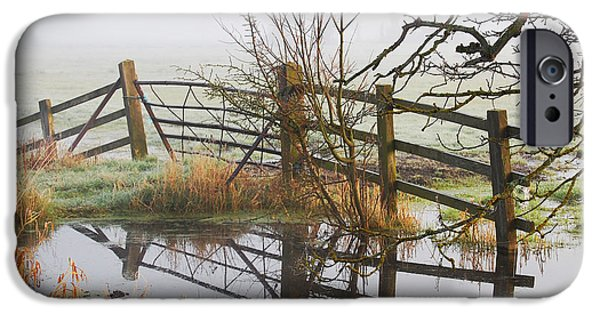 Winter Scene iPhone Cases - Flood Water In Somerset iPhone Case by Phil  Gough