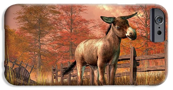 Donkey Digital Art iPhone Cases - Flop Eared Donkey iPhone Case by Daniel Eskridge