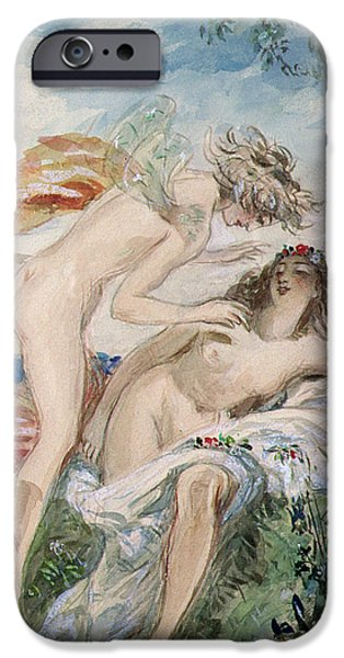 Flora Paintings iPhone Cases - Flora and Zephyr iPhone Case by Alfred-Edward Chalon