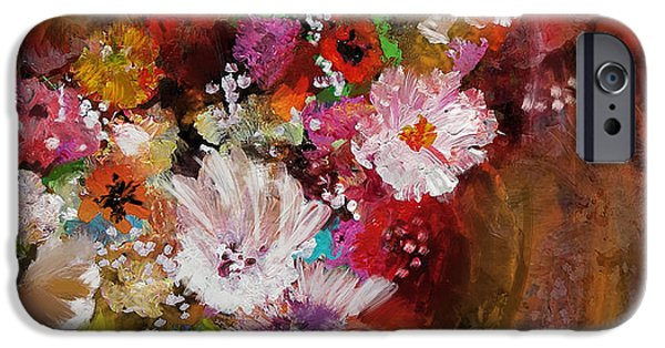 Flowers On Canvas Art iPhone Cases - Floral 18B iPhone Case by Mahnoor Shah