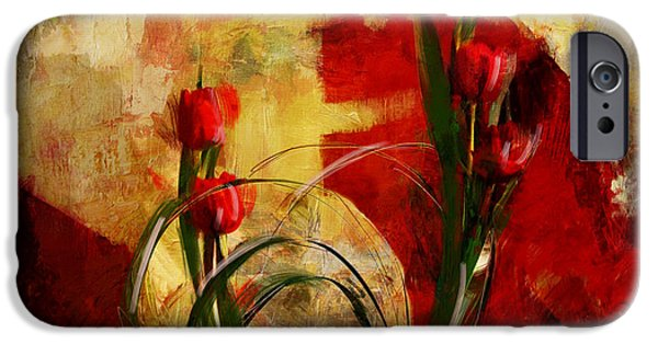 Flowers On Canvas Art iPhone Cases - Floral 1B iPhone Case by Mahnoor Shah