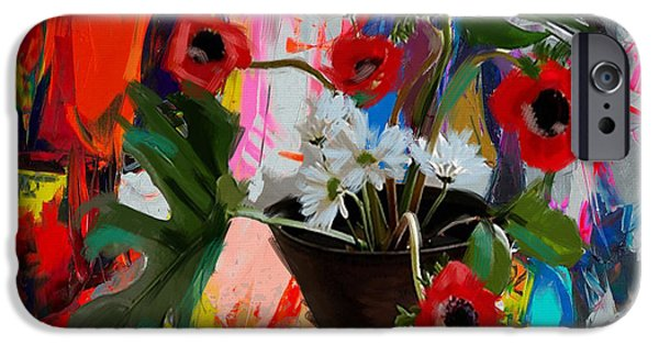 Flowers On Canvas Art iPhone Cases - Floral 3 iPhone Case by Mahnoor Shah