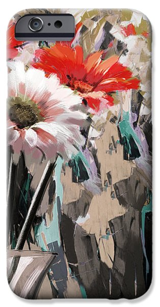 Flowers On Canvas Art iPhone Cases - Floral 5 iPhone Case by Mahnoor Shah