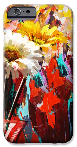 Flowers On Canvas Art iPhone Cases - Floral 5B iPhone Case by Mahnoor Shah