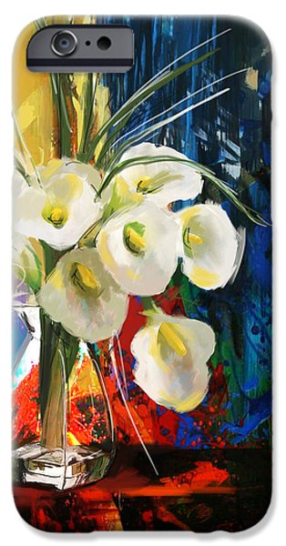 Flowers On Canvas Art iPhone Cases - Floral 6B iPhone Case by Mahnoor Shah