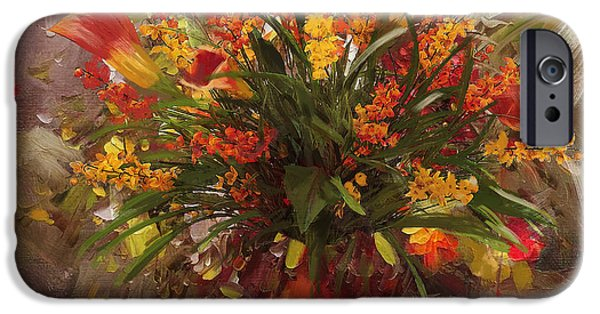 Flowers On Canvas Art iPhone Cases - Floral 8 iPhone Case by Mahnoor Shah