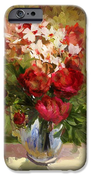 Flowers On Canvas Art iPhone Cases - Floral 9 iPhone Case by Mahnoor Shah