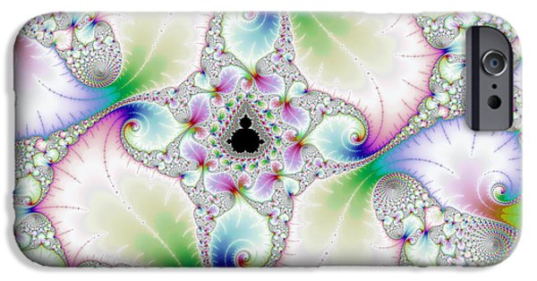 Floral Digital Art Digital Art iPhone Cases - Floral abstract art with bright pastel colors iPhone Case by Matthias Hauser