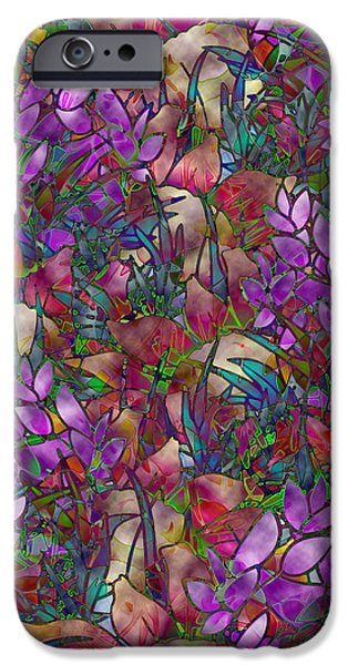 Florals Glass Art iPhone Cases - Floral Abstract Stained Glass iPhone Case by Medusa GraphicArt