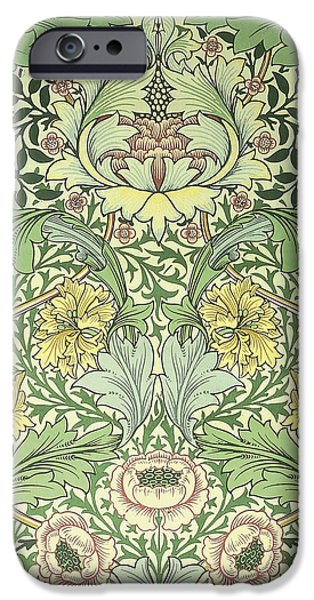 Fabric Tapestries - Textiles iPhone Cases - Floral and foliage design iPhone Case by William Morris