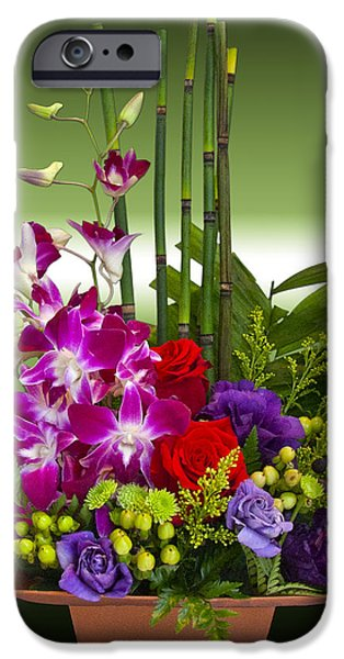 Floral Arrangement - Green iPhone Case by Chuck Staley