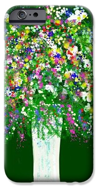 Floral Digital Art Digital Art Pastels iPhone Cases - Floral Bounty iPhone Case by Renee Michelle Wenker