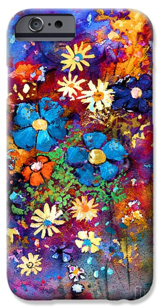 Colour Drawings iPhone Cases - Floral dance fantasy iPhone Case by Svetlana Novikova