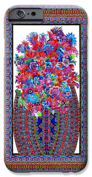 Corporate Tapestries - Textiles iPhone Cases - Floral Embroidery iPhone Case by Lawrence Chvotzkin