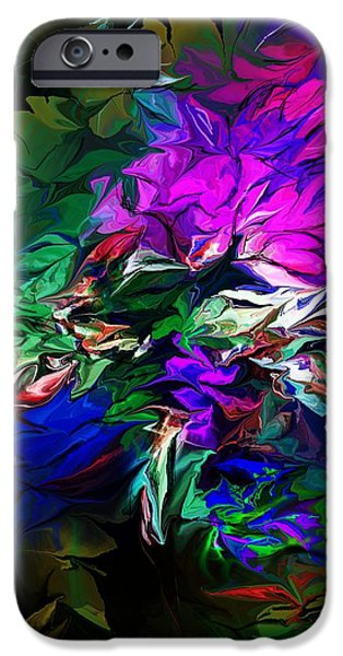 Abstract Digital iPhone Cases - Floral Fantasy 091713 iPhone Case by David Lane