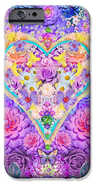 Florals iPhone Cases - Floral Heart Springtime iPhone Case by Alixandra Mullins