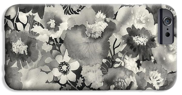 Patterns Paintings iPhone Cases - Floral in Black and White iPhone Case by Neela Pushparaj