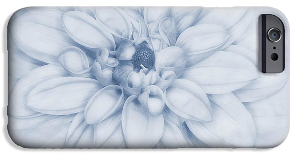 Close Up Floral iPhone Cases - Floral Layers Cyanotype iPhone Case by John Edwards