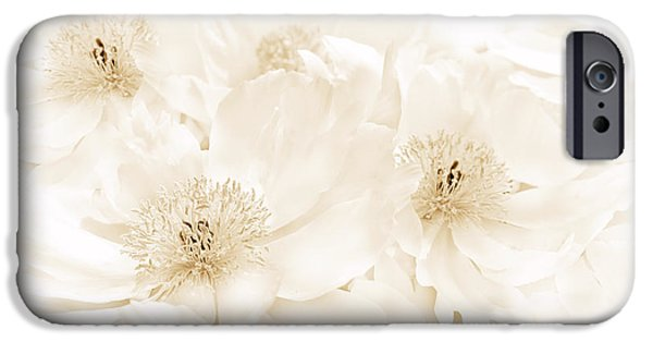 Monotone iPhone Cases - Floral Peonies in Sepia  iPhone Case by Jennie Marie Schell