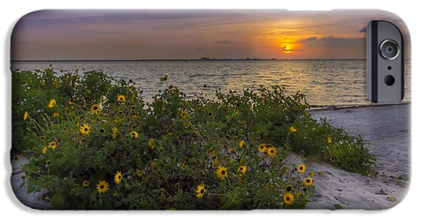 Trees At Sunset iPhone Cases - Floral Shore iPhone Case by Marvin Spates
