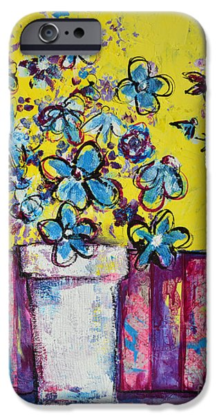Interior Still Life Mixed Media iPhone Cases - Floral Still Life Blue Hues iPhone Case by Patricia Awapara