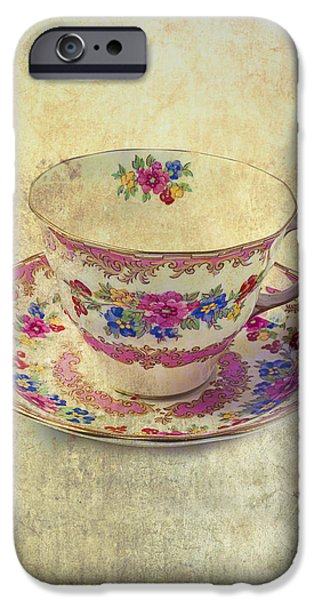 Florals iPhone Cases - Floral Teacup iPhone Case by Garry Gay