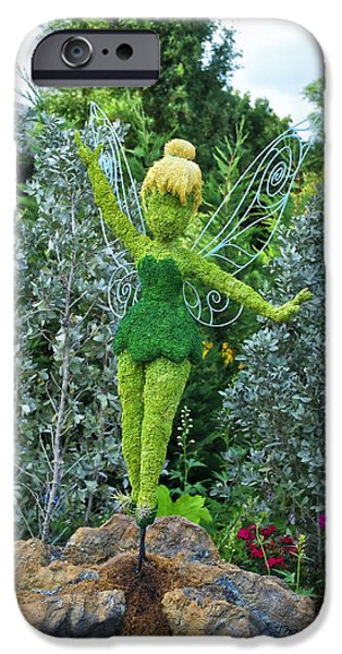 Tinker Bell iPhone Cases - Floral Tinker Bell iPhone Case by Thomas Woolworth