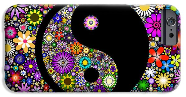 Freedom iPhone Cases - Floral Yin Yang iPhone Case by Tim Gainey