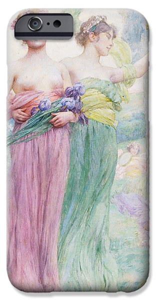Women Together iPhone Cases - Floreal iPhone Case by Henry Siddons Mowbray