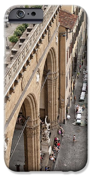 Old And New iPhone Cases - Florence and Piazza della Signoria iPhone Case by Melany Sarafis