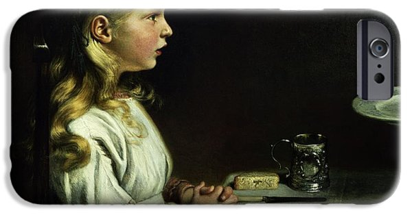Table Cloth iPhone Cases - Florence Cope Saying Grace At Dinnertime iPhone Case by Charles West Cope
