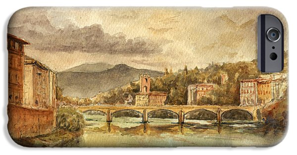 Original Watercolor iPhone Cases - Florence iPhone Case by Juan  Bosco