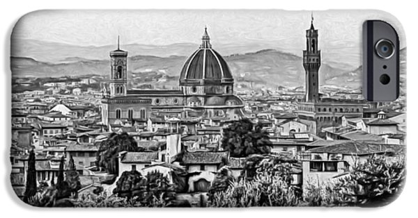 The Duomo iPhone Cases - Florence Panorama - Paint bw iPhone Case by Steve Harrington