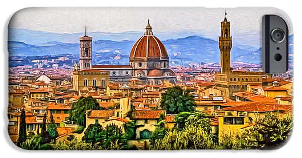 The Duomo iPhone Cases - Florence Panorama - Paint iPhone Case by Steve Harrington