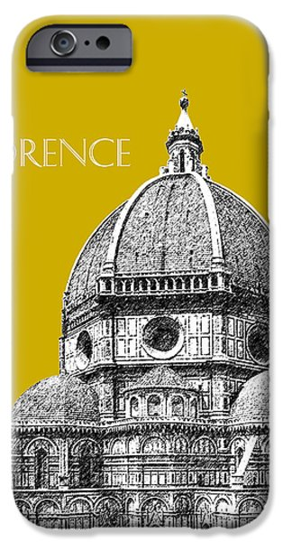 Pen And Ink iPhone Cases - Florence Skyline Cathedral of Santa Maria Del Fiore 1 - Gold   iPhone Case by DB Artist