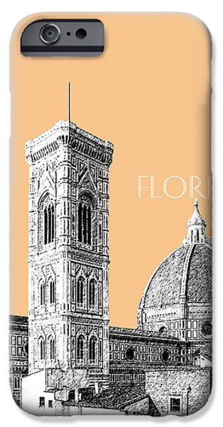 Pen And Ink iPhone Cases - Florence Skyline Cathedral of Santa Maria Del Fiore 2 - Wheat iPhone Case by DB Artist