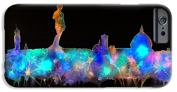 Florence Cathedral iPhone Cases - Florence Skyline - Nighttime 1 iPhone Case by Bill Holkham