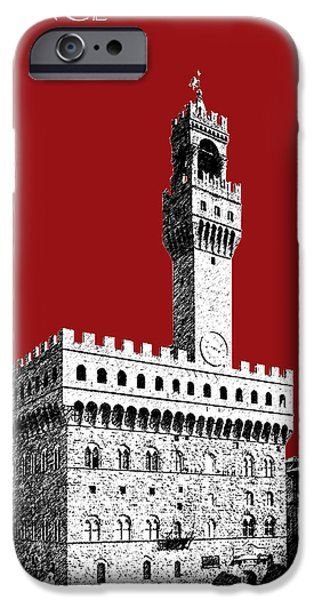 Pen And Ink iPhone Cases - Florence Skyline Palazzo Vecchio - Dark Red iPhone Case by DB Artist