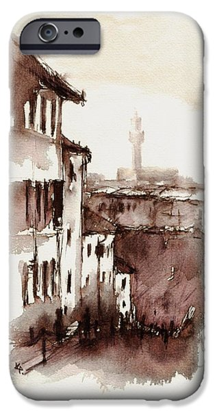 City Scape Drawings iPhone Cases - Florence_2 iPhone Case by Karina Plachetka
