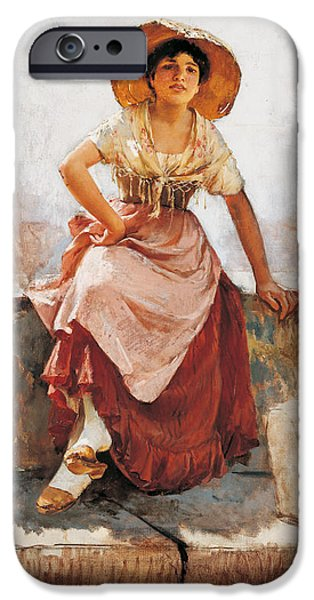 Cute. Sweet iPhone Cases - Florentine Flower Girl iPhone Case by Frank Duveneck